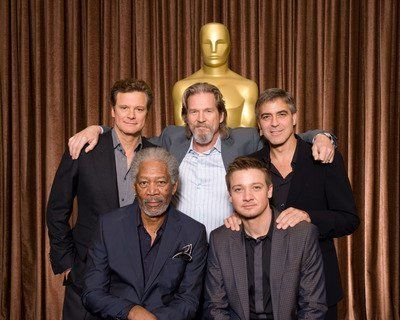 Photo of Colin Firth & his friend actor  Morgan Freeman - Los Angeles