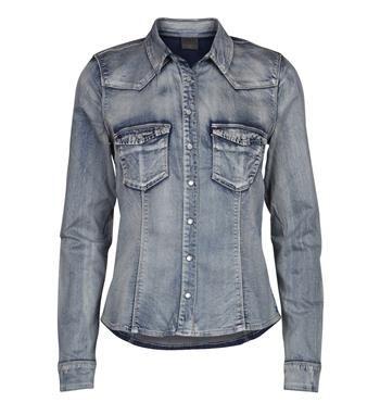 Object stretch denim blouse / denim shirt, model Denima shirt - NummerZestien.eu