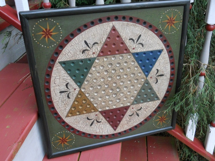 Primitive Chinese Checker Game Board - Barn Quilt idea-Love the colors