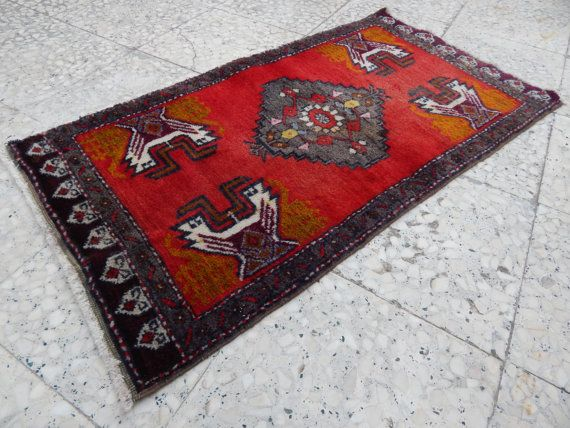 Flatweave Oushak Rug Small Turkish Floor Mat Carpet with