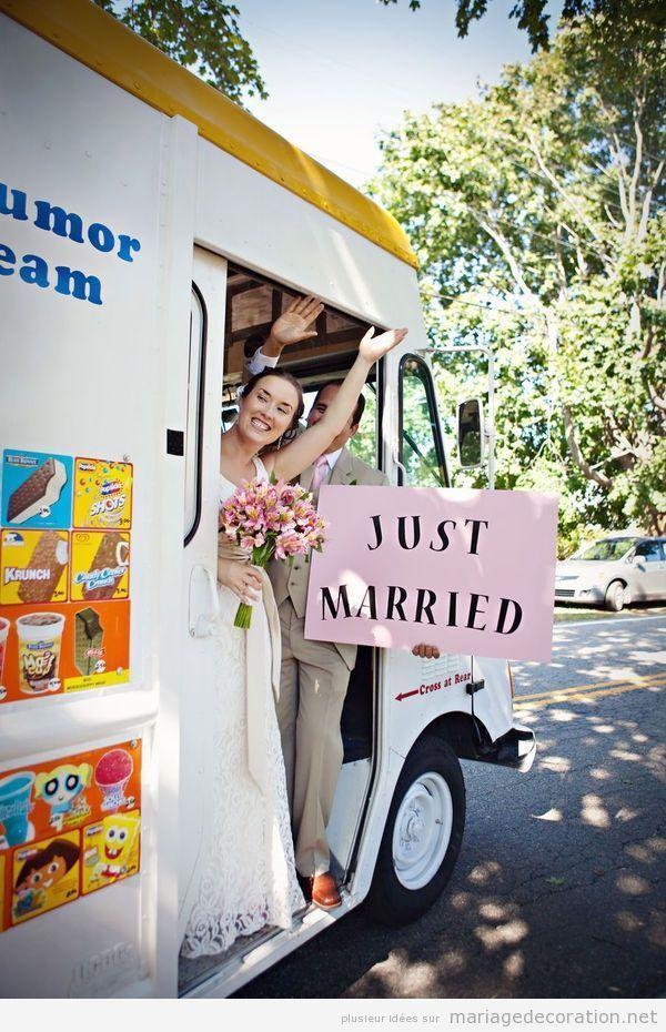 Idées originales mariage, camion-glacier pour les jeunes mariés