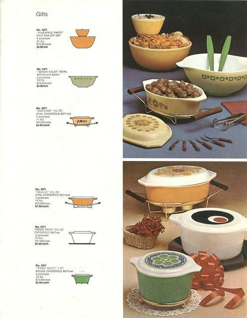 wow!! Look at this bunch of pristine Pyrex exotica all on one place! A page from a vintage Pyrex Ware catalogue