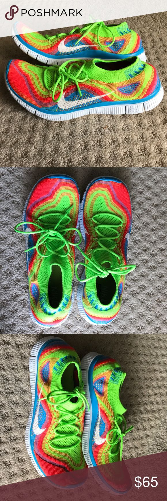 Nike Free Flyknit 5.0 rainbow Nike Free Flyknit 5.0 barefoot running shoes. Worn outside 2 or 3 times. Nike Shoes Athletic Shoes