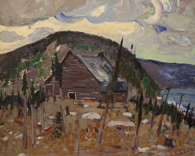Rene Richard - Le Vieux Trading-Post 25.625 x 31.25 Oil on panel (circa 1943)