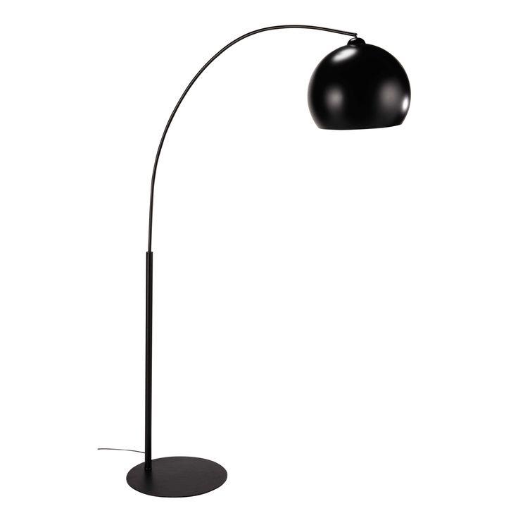 BLACK SPHERE metal and Plexiglas® floor lamp in black H 190cm