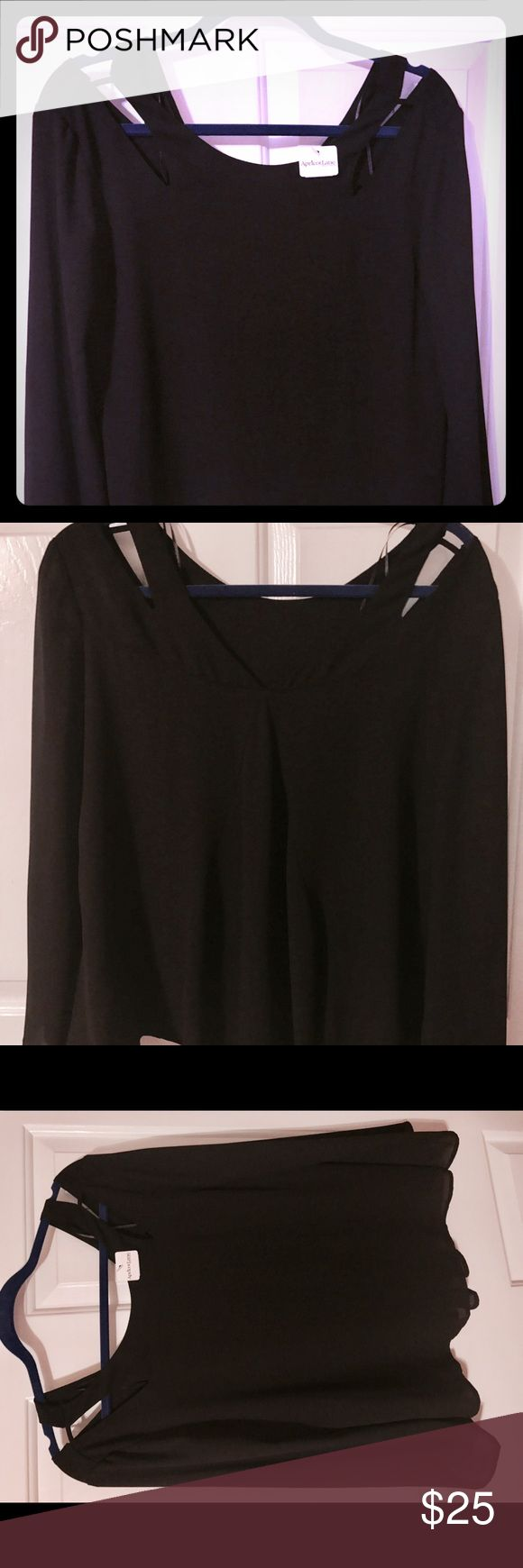 💕💕NWT Boutique Apricot Lane Blouse Black Apricot Lane blouse with cut out top design. NWT. Apricot Lane Tops Blouses