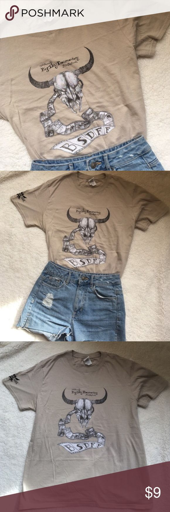 Western Grunge Film Festival Tee Super cool shirt from the Big Sky Documentary Film Festival in Missoula, MT. Back says Volunteer. Features a longhorn skull and movie film. Men's/Unisex Medium. Shoulder days garage tees with an eagle. Cheaper on Ⓜ️ Vintage Tops Tees - Short Sleeve