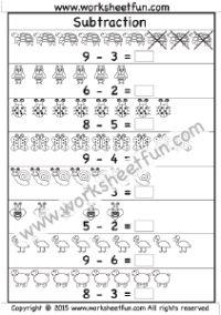 Beginner Subtraction – 4 Kindergarten Subtraction Worksheets