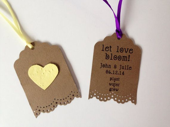 Seed Paper Favors - 25 seed paper personalized favor - Plantable seed paper favor for wedding, baby and bridal shower or tags