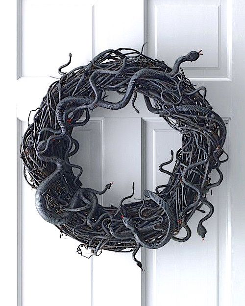 DIY Craft: How to Make a Snake Halloween Grapevine Wreath (Video). Add whimsy to your front door this Halloween with these delightfully creepy wreath tutorial.