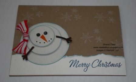 I did this one for my dad this year.  I used a pre printed snow flake card stock in the back ground and reversed the image.  WAAAY cute and super easy!    can a snowman get any cuter! thank you sharonstamps!