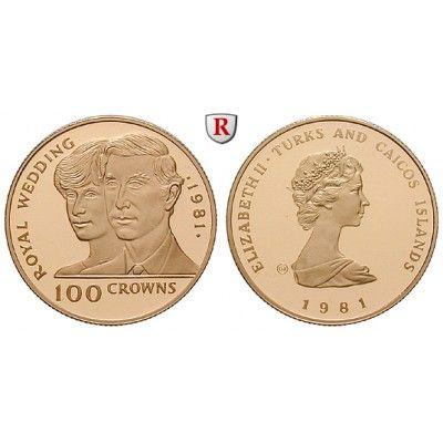 Turks und Caicos Inseln, Elisabeth II., 100 Crowns 1981, 5,83 g fein, PP: Elisabeth II. seit 1952. 100 Crowns 5,83 g fein, 1981.… #coins