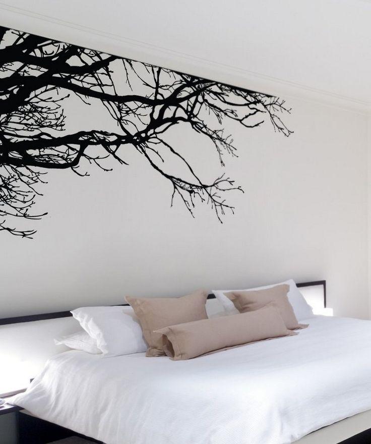 stickers muraux cool - branches d'arbre noires dans la chambre blanche