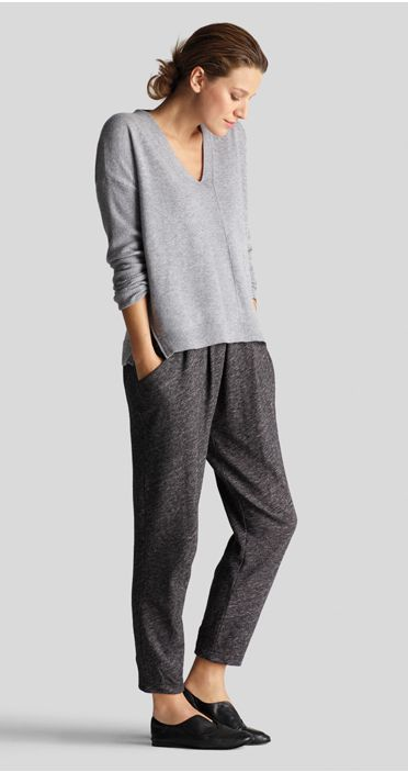 Comfort is always a must in fashion. Stay cozy in Eileen Fisher's V-Neck Wedge Top in Cashmere and Slouchy Ankle Pant in Organic Cotton. #comfycozy