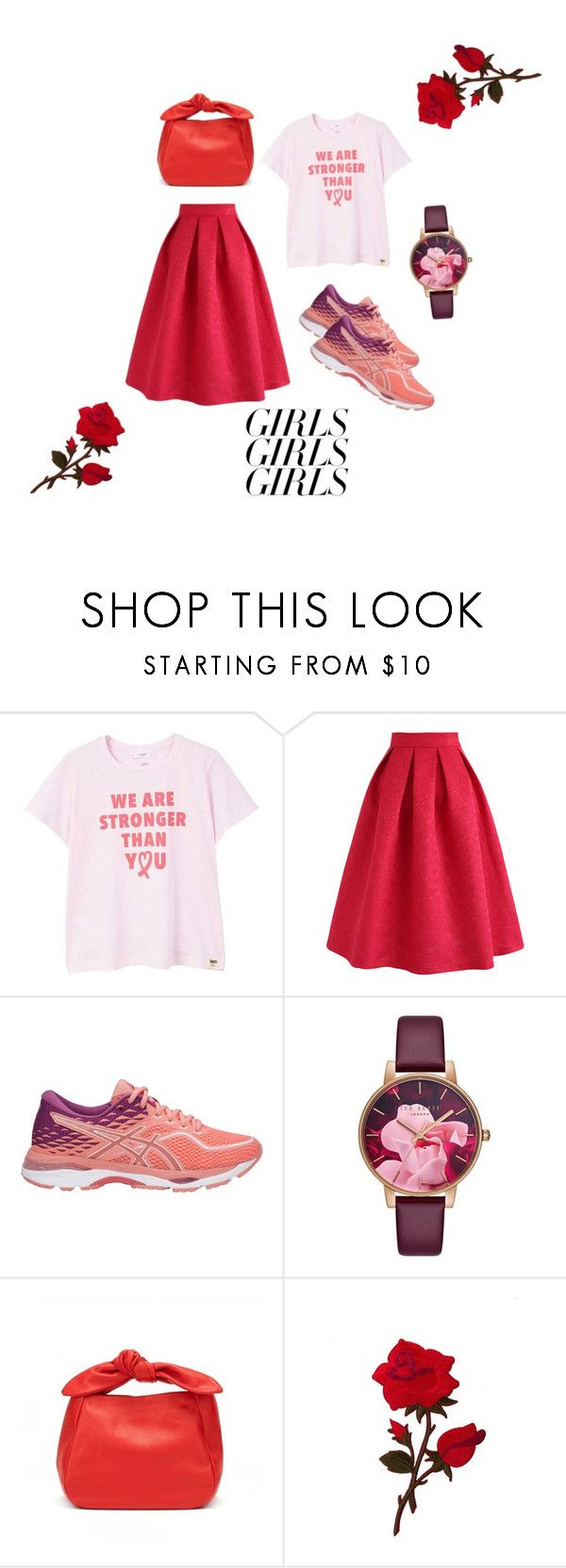 """""""Red as rifampicin effect to body fluid"""" by naayuningtyas ❤ liked on Polyvore featuring MANGO, Chicwish, Asics, Ted Baker, womensHistoryMonth, pressforprogress and GirlPride"""