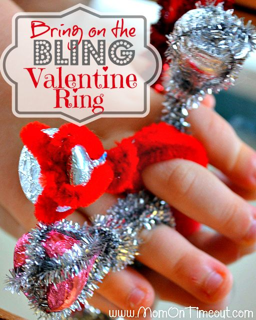 Bring on the Bling Valentine Ring from MomOnTimeout.com | So fun and easy too! Perfect for a class full of kids :) #ValentinesDay #craft