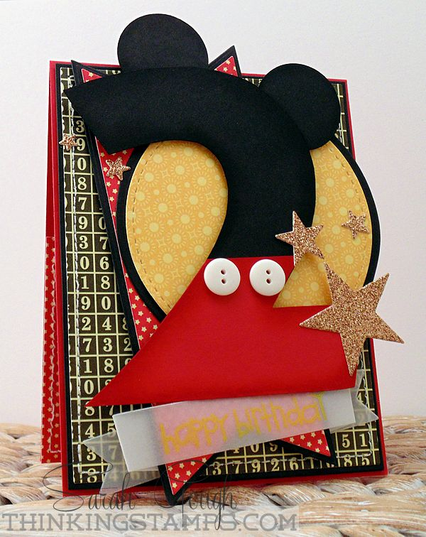 Mickey Mouse Birthday Card - THinkING STAMPS  CUT #'s with cricut in red and black, add circles