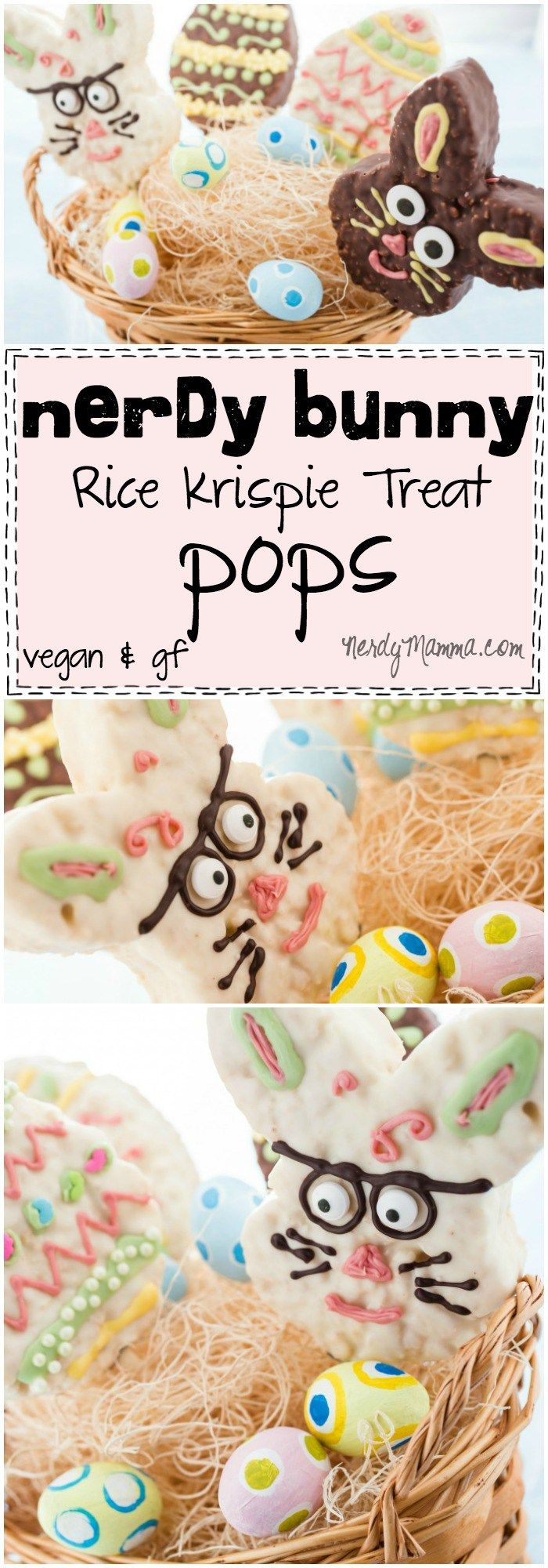 This is such a cute Easter treat idea! Nerdy Bunny Rice Krispie Treat Pops are so adorable...and easy! I love it. (and they're gluten-free and vegan!)