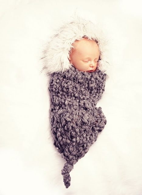 Knitted baby eskimo cocoon