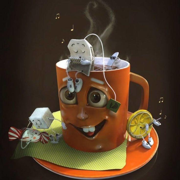 Спокойной ночи, открытки про чай