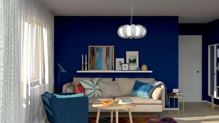 """Для тех кого интригует насыщенный синий цвет мы подготовили подборку интерьеров в этой притягательной гамме. Темно-синий цвет в интерьере подойдёт для комнат окна которых выходят на юг юго-восток или юго-запад. Небольшие пространства благодаря этой гамме визуально увеличатся. Подчеркнут бархатистую глубокую фактуру комфортный рассеянный свет торшеров настольных ламп и свечей. Решайтесь и заказывайте """"темно-синий интерьер Копенгаген"""" в УДОБНО!"""