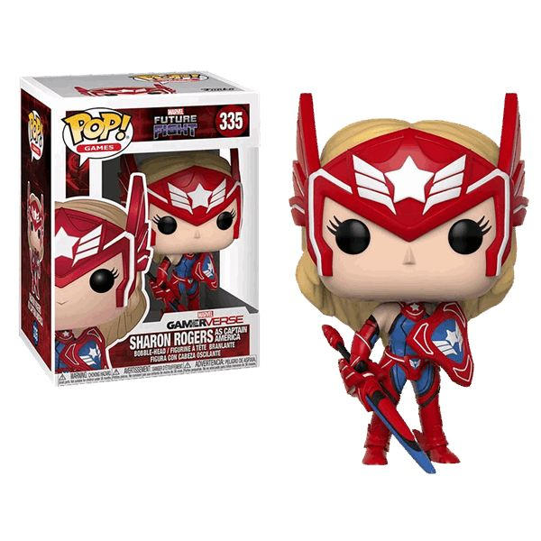 Primarily set in the Marvel Universe, 'Marvel Future Fight' is a 2015 free-to-play mobile action game featuring all of your favourite Marvel characters.  This Pop! features Sharon Rogers, dressed as Captain America.  Approx. 9.5cm tall.