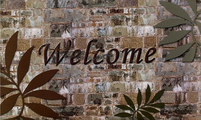 Achim Home Furnishings Outdoor Rubber Mat, Welcome Palms