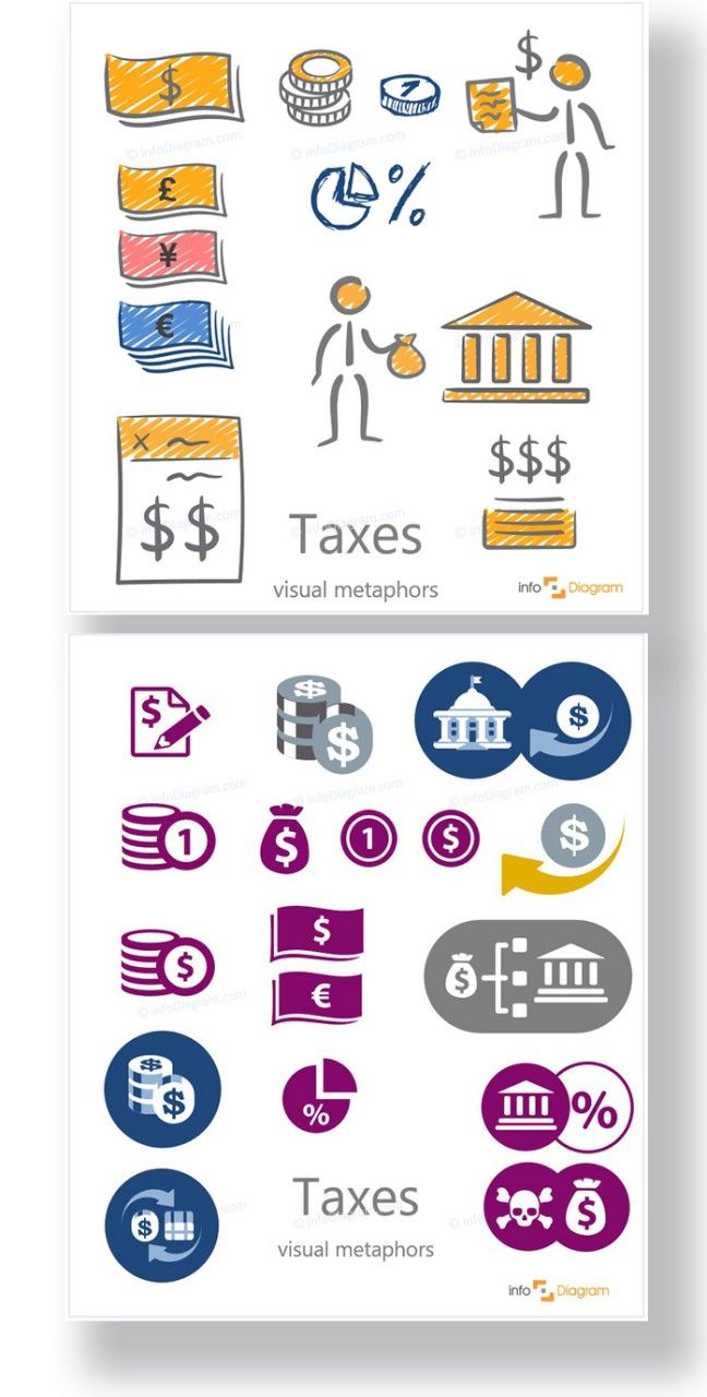 Simple and Hand Made Taxes Icons - Flat and Scribble icons. Money, currency, person with money bag, coins, governmental institution, taxation, percent, pie chart, money exchange. Editable infographics images.