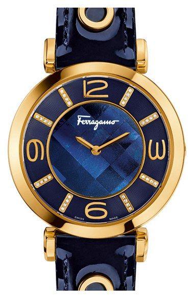 Salvatore Ferragamo 'Gancino Deco' Leather Strap Watch