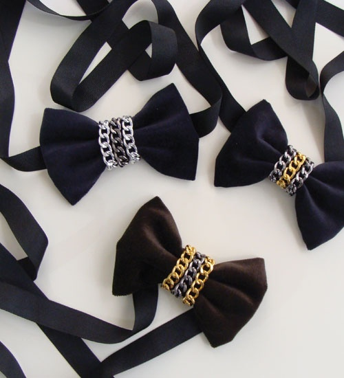 Chain Nobles Collection (Chain Reaction 2013) Velvet and denim bow ties for women