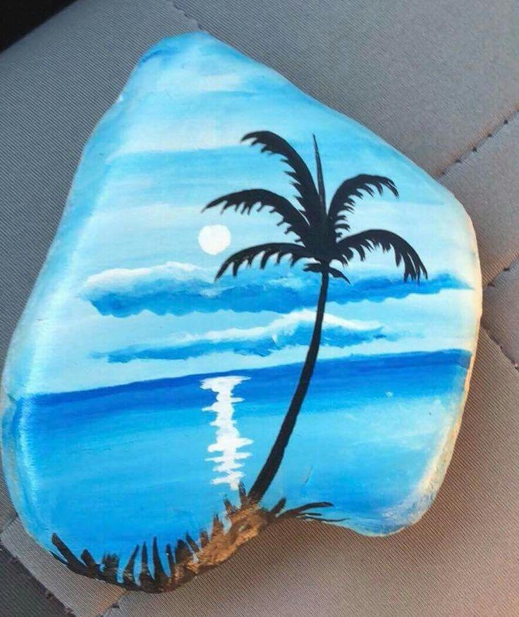 Palm Tree Blue Skies Painted Rock Pebble Art Stone