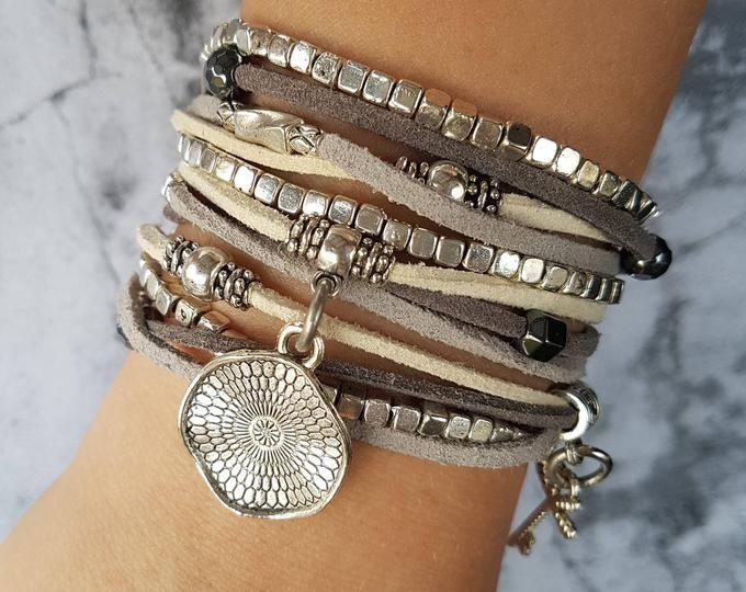 Zamak Bracelets Endia Beaded Bracelets Silver Bracelets Women Leather Bracelets Boho Bracelets Bohemian Bracelets Bracelets for Women