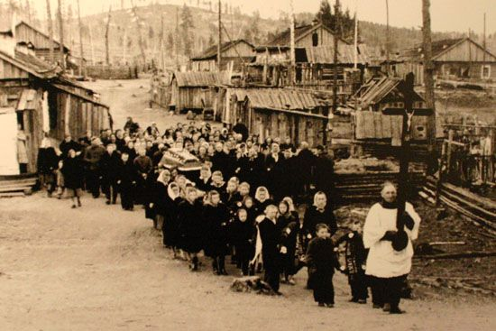 Each of the Baltic countries has a museum of the Soviet Occupation, which lasted fifty years. Tens of thousands were murdered or deported to Siberia. This is a village of Lithuanians in the Gulag. Many never returned to their home country.