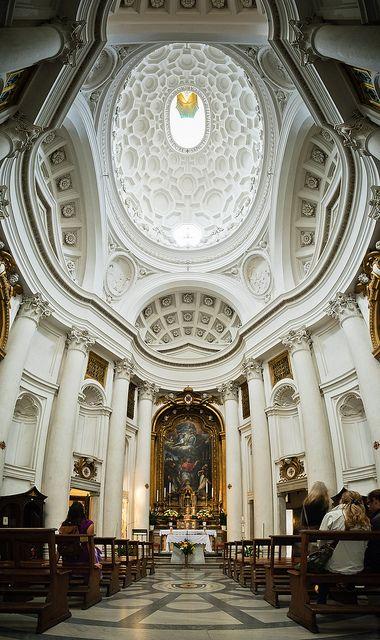 "San Carlo alle Quattro Fontane (1638 - 1641), ""San Carlino"". Interior. Francesco Borromini (1599 - 1667). Roma. Consagrada a San Carlos Borromeo. Patronazgo del Cardenal Francesco Barberini. Estilo Barroco."