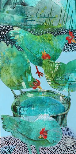 green hens | painting by cate edwards