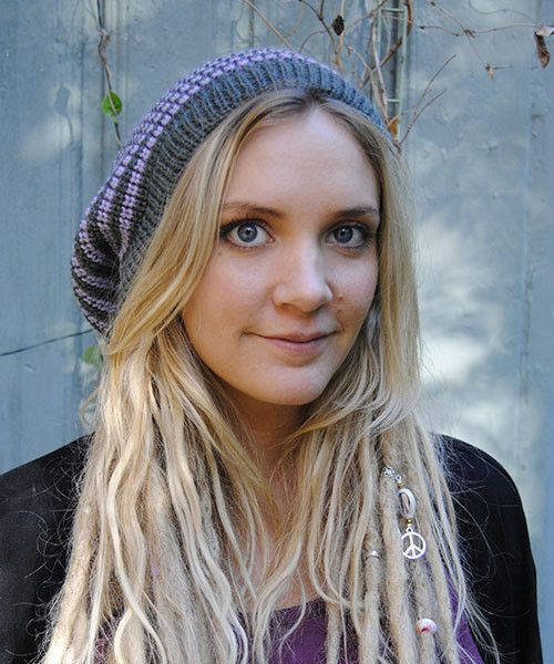 Grey and purple striped rasta tam / dreadlocks hat M