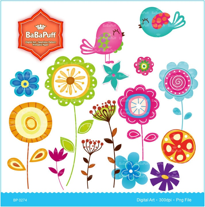 Instant downloads flowers and birds clip art spring flower instant downloads flowers and birds clip art spring flower dandelion baby bird personal and small commercial use bp 0274 party ideas pinterest mightylinksfo