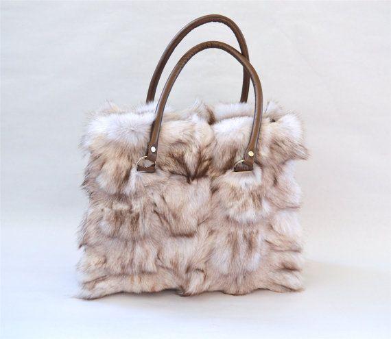 Genuine platinum fox fur bag white real fox fur handbag by BeFur
