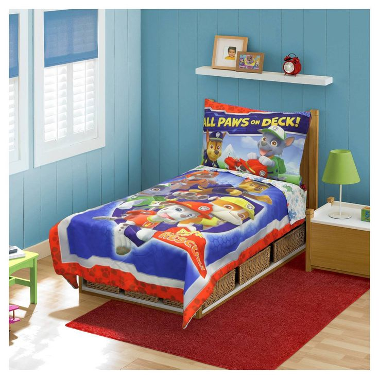 Paw Patrol All Paws on Deck! 4 Piece Toddler Bed Set  Multicolor