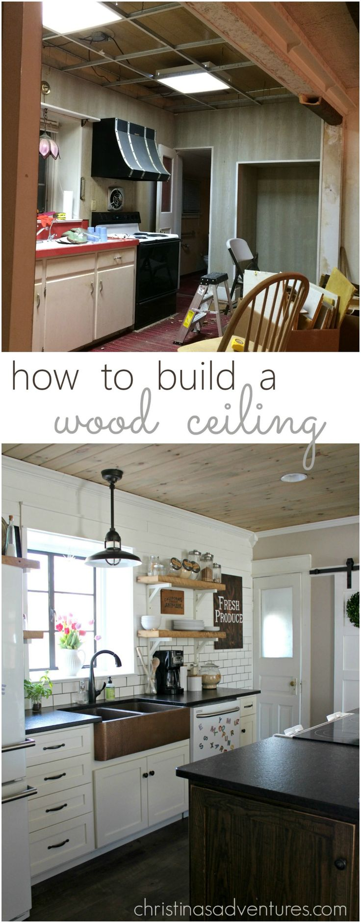 Super helpful step-by-step instructions on how to build a wood ceiling.  Perfect for adding farmhouse charm & character!