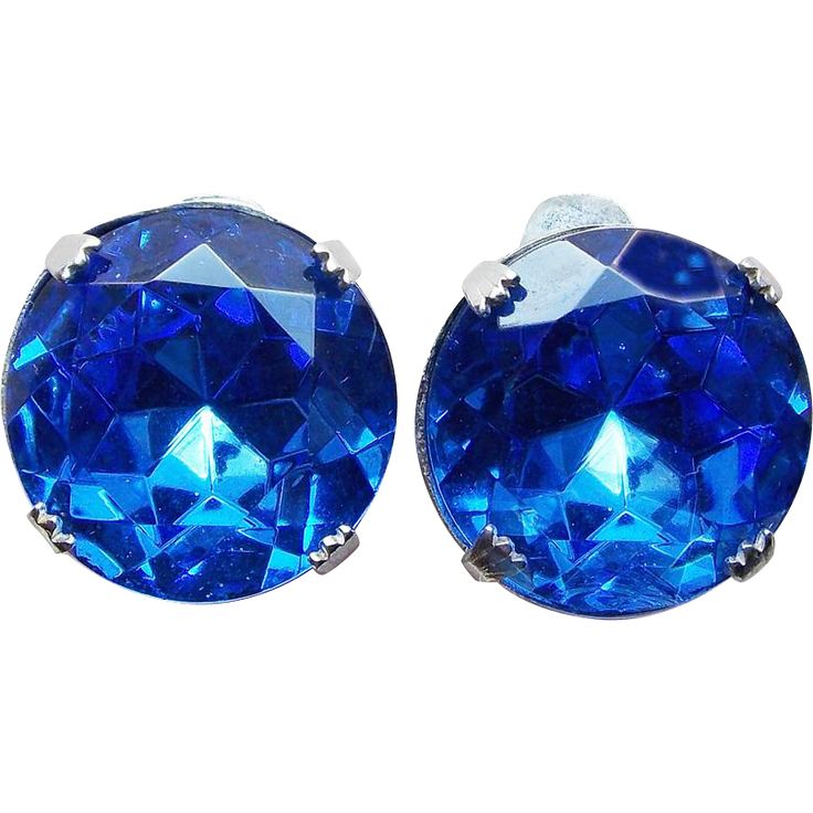 Gorgeous Blue Headlight Rhinestone Earrings. Vintage Jewelry under $25 at Ruby Lane @Ruby Lane