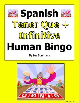 Spanish Tener Que + Infinitive and Chores Human Bingo Game Speaking Activity by Sue  Summers - Includes a follow-up written assignment.
