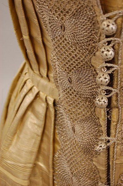 Gold regional dress or Sarafan and bonnet, Russian, mid 19th