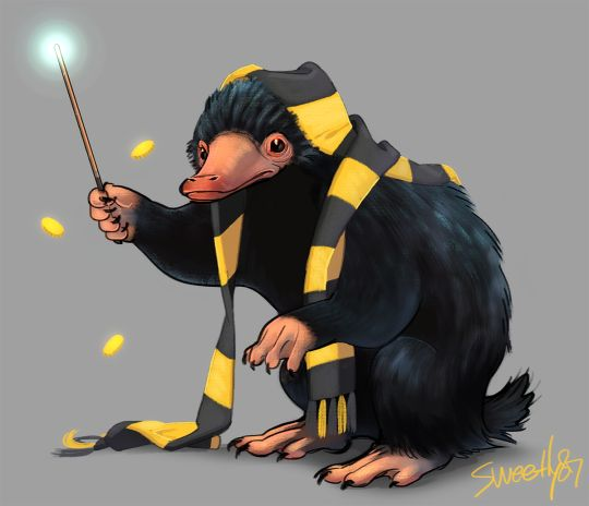 Hufflepuff! AND A NIFFLER! Perfection in a picture!
