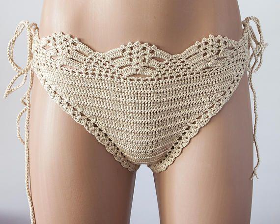Crochet Beige bikini bottom women bikini bottom swimwear