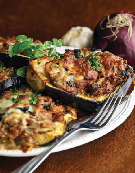 Low Carb Pizza-Stuffed Eggplants