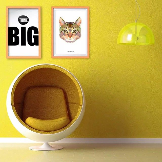 Cuadros decorativos #Matita #Decoracion #Deco #Wall #Art #Interior #Design #Yellow #Cat #ThinkBig #Posters #Cuadros