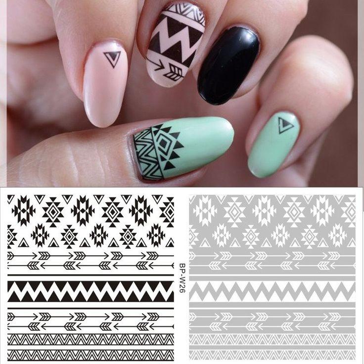 2 Patterns/Sheet Tribal Nail Art Water Decals Aztec Nail Transfer Sticker BORN PRETTY White Black Nail Sticker BP-W26