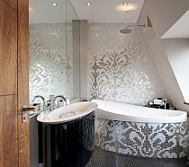 Mozaika szklana Damasco Oro Bianco biała+ srebrna Silver
