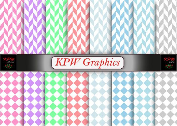 Rainbow Checks and Herringbone Digital Printable by KPWgraphics